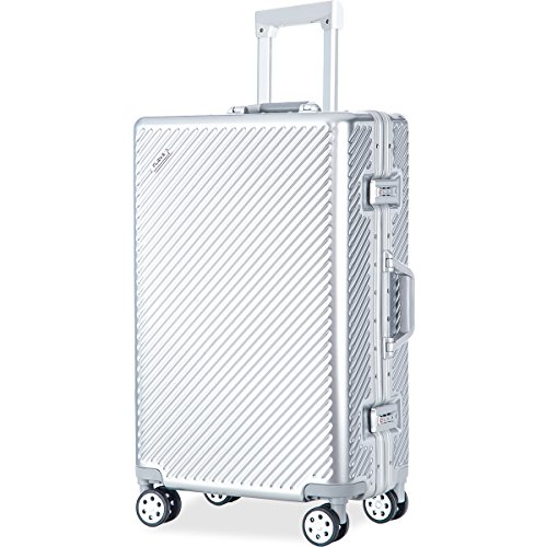 Price comparison product image Flieks Aluminium Frame Luggage TSA Approved Suitcase (24-Checking in,  Space Silver)