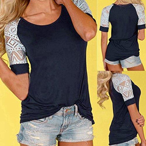 FEITONG Mujer Verano Blusa Tops Casual Camiseta de encaje Tee Camisa manga corta Azul profundo