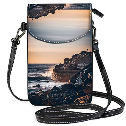 Malibu Shoulder Pack - Multicolor Shoulder Messenger Bag Phone Purse Sunset in Malibu Casual, Lightweight Multi Pockets Crossbody Bag