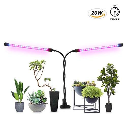 Grow Light for Indoor Plant Timer 20W Clip Dual Head 40 LED Chips Red/Blue Spectrum Adjustable Gooseneck
