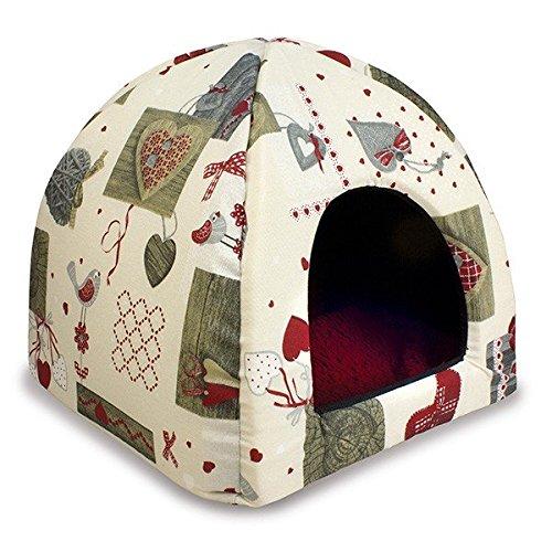 Cueva iglu corazones grises para perros y gatos: Amazon.es: Productos para mascotas