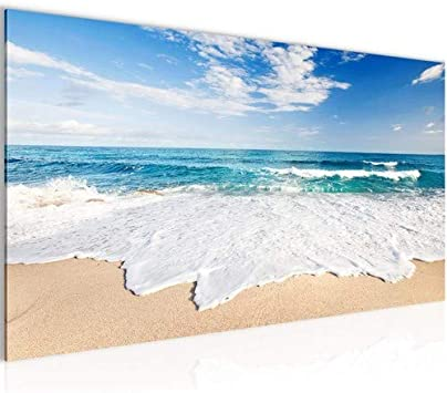 Kunstdruck Leinwand aus Vlies Bild Bilder Wandbild XXL 100x40 Strand Sand Meer