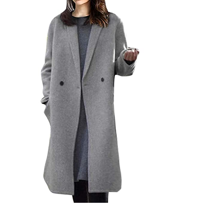 989d1babc6f Womens Winter Warm Lapel Artificial Wool Cotton Trench Coat TUDUZ Ladies  Slim Double-Breasted Office Work Business Party Long Parka Jacket Overcoat   ...