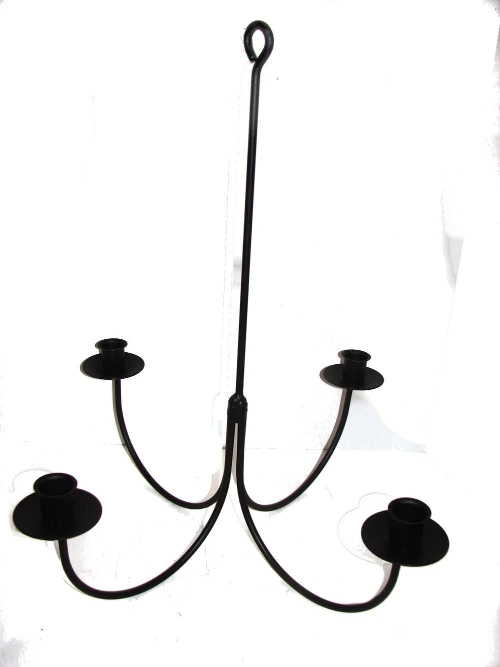 4 ARM WROUGHT IRON CANDLE CHANDELIER Amish Handmade Country Candelabra USA