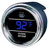 Teltek USA Auto Thermometer Gauge for Any Semi - Pickup Truck or Car - Bezel: Chrome - LED Color: Blue