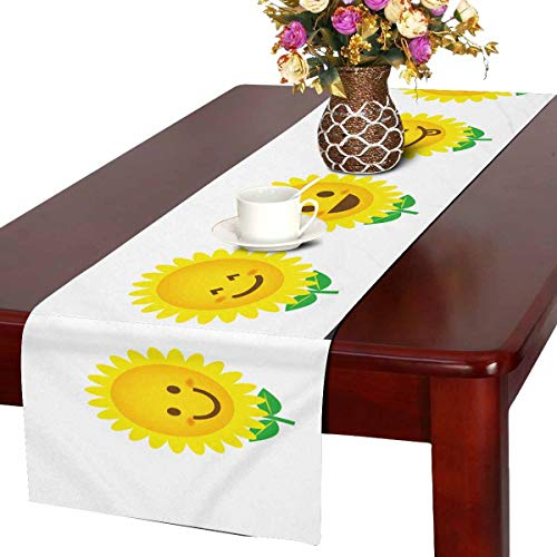 INTERESTPRINT Table Runner Dresser Cover Runner Wedding Party Decorations 16 by 72-Inch Icon of Sunflower