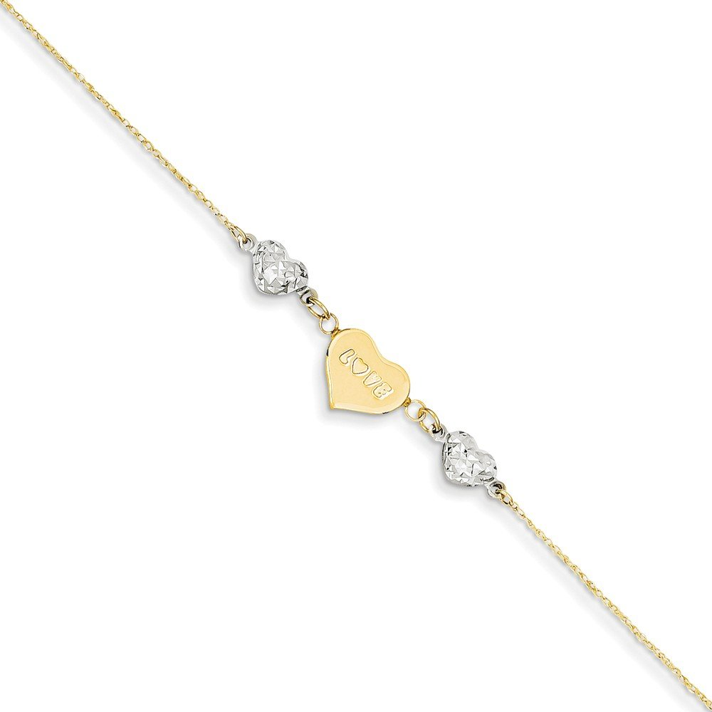 14K Two-tone D/C Puffed Heart LOVE w/ 1in Ext Anklet, 14 kt Two-tone, 9 inch