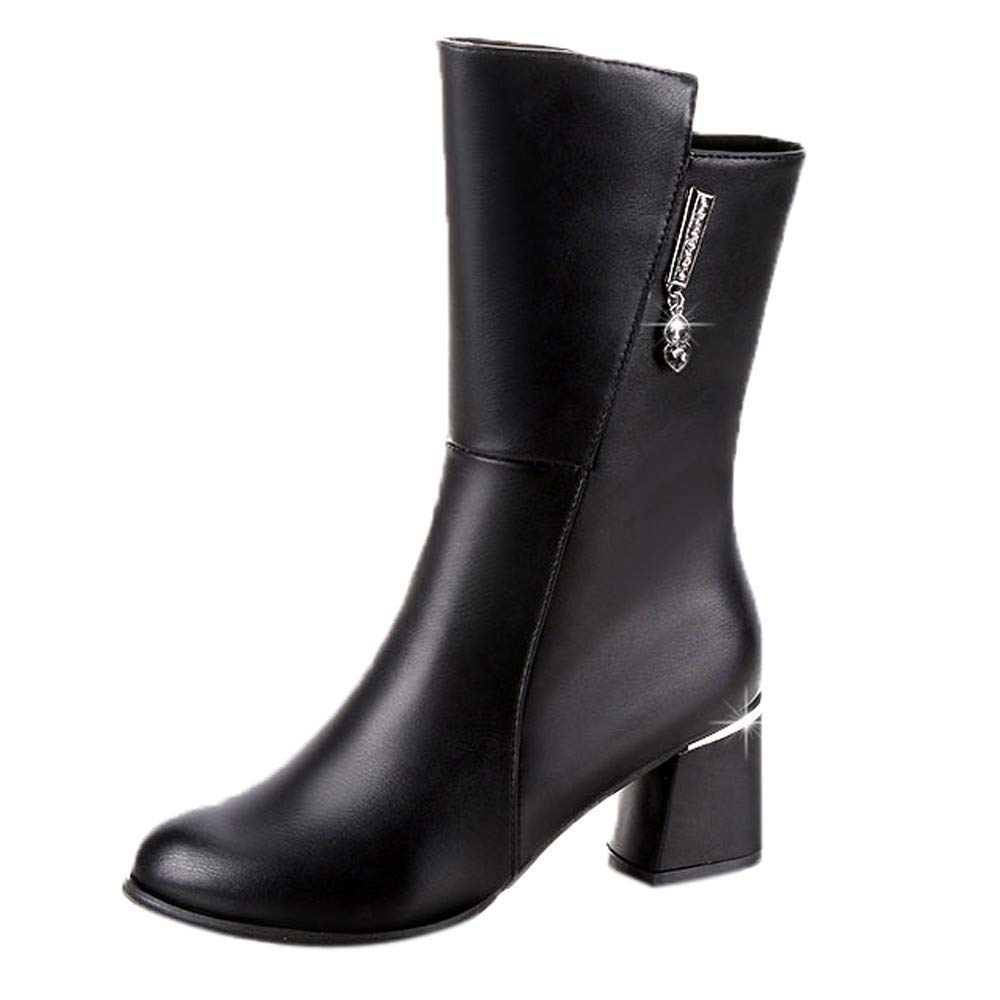Oudan Stiefel Damen Schuhe Damenstiefel Frauen Mid Stiefel Platz Heels Schuhe Stiefeletten Slip Hohe Stiefel Freizeitschuhe Winterstiefel Turnschuhe Stiefel (Farbe   Schwarz, Größe   39 EU)