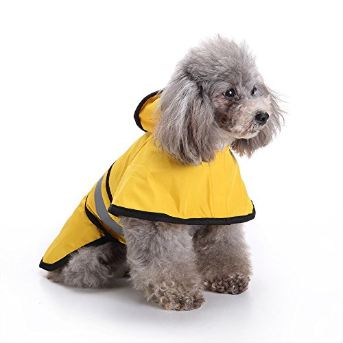 Yellow Rainman Jackets - Fewear Dog Rain Jacket With Hood | Dog Rain Poncho | Self-Adjusting Belly Strap for Secure and Comfortable Fit | Water Proof | Grey Reflective Stripe | Size: XS,S,M,L,XL,L2,L3,L4 (XL, Yellow)