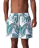 ESCATCH Men's Green Leaves Print Boardshorts Tropical Design Swimming Trunks Beach Sport Shorts White Medium