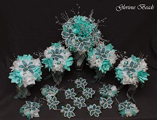 Aquamarine and White Beaded Lily Wedding Flower 17 piece set with Blue/Green and White Roses ~ Unique French beaded flowers and beaded sprays. Includes Bouquets Corsages and Boutonnieres