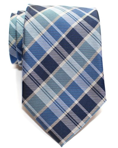 Retreez Modern Tartan Plaid Check Styles Woven Microfiber Men's Tie - Blue