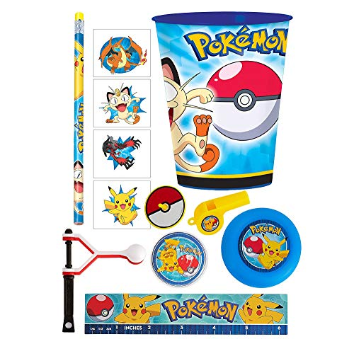 Party City Pokemon Super Favor Supplies for 8 Guests, Include Favor Cups, Toys, Tattoos, Pencils, Treat Bags, and Ribbon