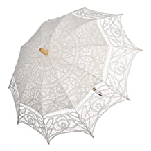 Remedios Cotton Lace Parasol Umbrella for Wedding Bridal Photo Decoration,Ivory