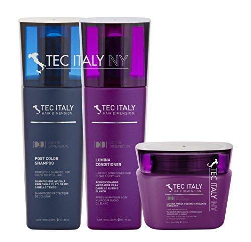 Tec Italy Blonde and Highlights Mantainance Pack: Shampoo Post Color 10.1 Oz. + Lumina Conditioner 10.1 Oz. + Lumina Forza Colore Matizant 9.8 Oz.