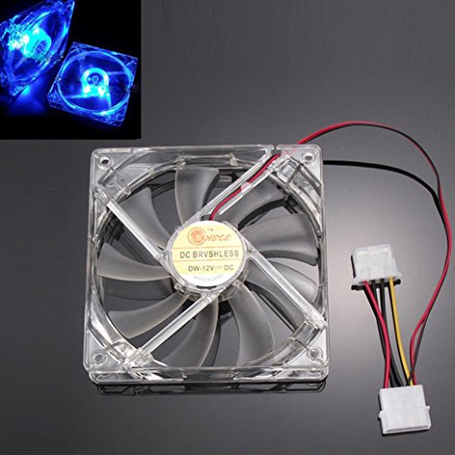 Cywulin Blue LED Light Neon Clear 120mm PC Computer Case Cooling Fan for Desktop, PC CPU, Computer