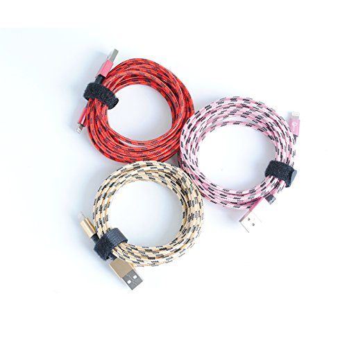 Price comparison product image OOLLWW iPhone Cable,3Pcs Nylon Braided iphone Charger to Cable Data Syncing Cord 10ft/3m Compatible with iPhone 7/7 Plus/6/6 Plus/6S/6S Plus,SE/5S/5,iPad,iPod Nano 7 - Red/Pink/Golden