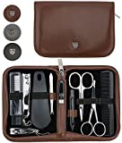 3 Swords Germany - brand quality 10 piece manicure pedicure grooming kit set for professional finger & toe nail care tweezers file clipper fashion leather case in gift box, Made by 3 Swords (01610)