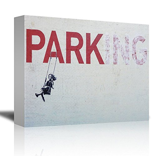 Parking by Banksy A Girl Swinging Below a Big Red Park