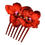 Daisyu Wedding Bridal Flower Hair Comb Dancer Flower Hair Clip Accessories (Red)