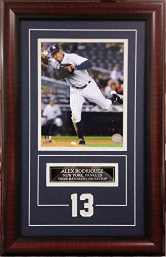 Alex Rodriguez New York Yankees. Deluxe Framed Picture Photo with laser cut player number SKU #2007 ()