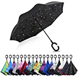 G4Free Double Layer Inverted Umbrella Cars Reverse Open Folding Umbrellas, Windproof UV Protection Large Upside Down Straight Umbrella for Car Rain with C-Shaped Handle