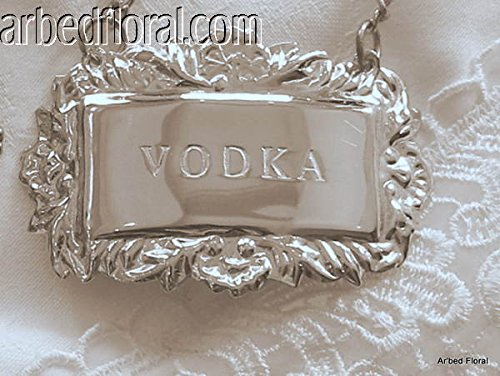 (VODKA Engraved Silver Liquor Decanter Label Emblem Tag Nameplate )