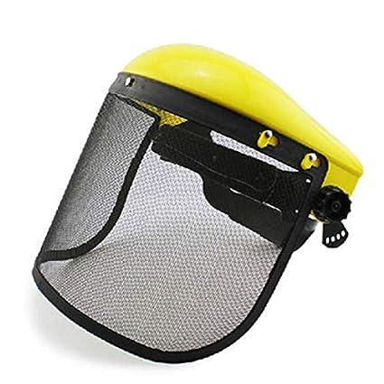 VVDF - Casco de seguridad ajustable de malla de metal para motosierra y cara, protección