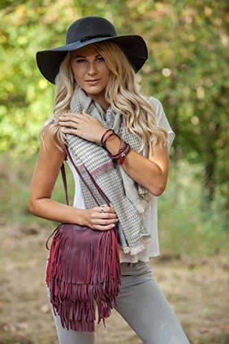 etnico a moda Blu 02012113 in Blu con donne colore borsa alla borsa tracolla styleBREAKER borsa lunghe da scuro scuro spalla stile frange v5w8Uq