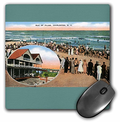 3dRose BLN Vintage US Cities and States Postcards - Isle of Palms, Charleston, South Carolina Beach Scene - MousePad (mp_170571_1)