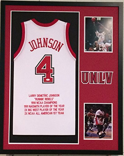Larry Johnson Autographed Custom Framed UNLV Runnin Rebels Jersey JSA Witnessed COA