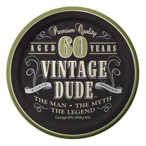 Creative Converting 8 Count Vintage Dude 60th Birthday Round Dessert Plates (Vintage Halloween Decoration Ideas)