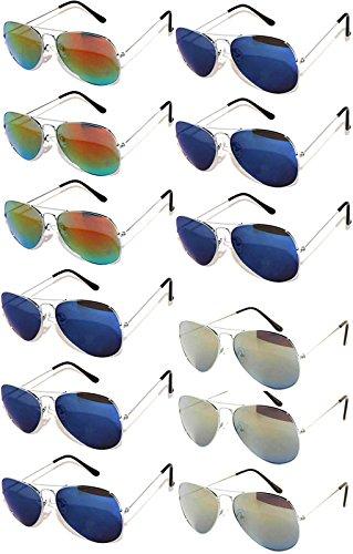 Wayfarer Sunglasses Colored (Aviator Silver Metal Frame Eyeglasses Full Mirror Lens Blue, Blue-Green, Red, Yellow -12 Pack OWL.)
