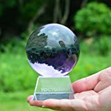 YOCTOSUN Crystal Purple Crystal Ball 3.15 inch (80mm) Crystal Sphere Ball with Free Crystal Stand