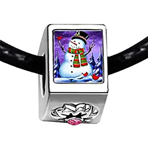 Chicforest Silver Plated Christmas Snowman Photo Light Rose Crystal October Birthstone Flower Charm Beads Fits Pandora Bracelets