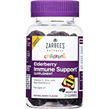 Zarbee's Naturals Children's Elderberry Immune Support* Gummies with Vitamin C, Zinc, Natural Berry Flavor, 21 Gummies