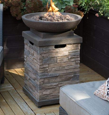 Jar Outdoor- Firepit Table for Outside-Portable Propane Fire Pit-Cozy Fire Ambiance for Nights Spent at Your Patio-Color Gray Brown Textured Stone Steel Frame