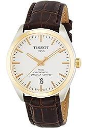Tissot Men's T-Classic PR 100 42mm Leather Band Two Tone Steel Case Swiss Quartz Watch T101.451.26.031.00