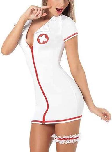 Hellomiko Lencería Sexy para Mujer Damas Trajes de Enfermera Maid ...