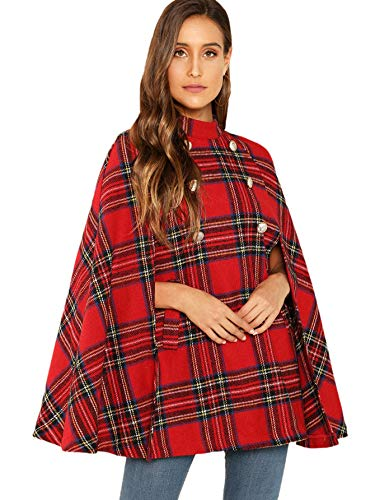 - MAKEMECHIC Women's Double Button Cloak Sleeve Elegant Cape Mock Poncho Classy Plaid Print Cape Coat Red-1 L