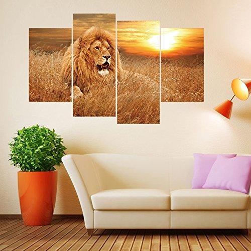 VanBest 4Pcs African Lion Wall Sticker Removable Waterproof Creative Decals DIY Home Living Room Bedroom Mural Art Decoration