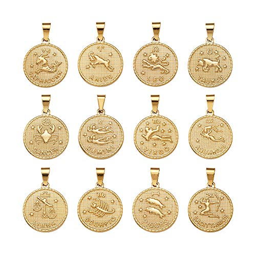 Beadthoven 12pcs/Set 304 Stainless Steel Twelve Constellation Zodiac Sign Pendant Sets Golden Flat Round Jewelry Charms for DIY Bracelets Necklaces Making Finding Supplies Personalized Accessories (Best Zodiac Sign Matches)