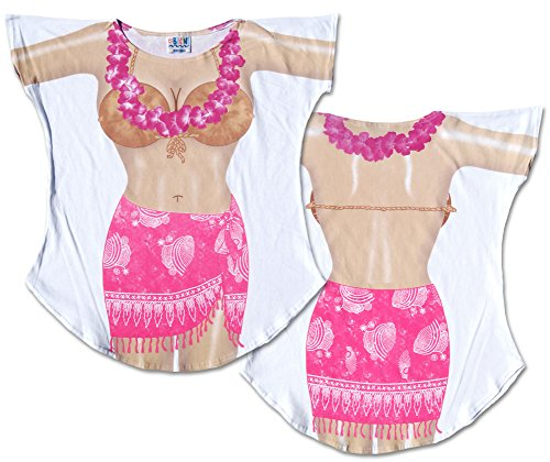 Hot Pink Sarong Cover-Up Ladies T-Shirt Size M/L