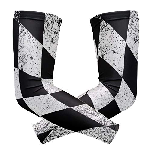 (Arm Sleeves Chequered Flag Black and White Man Baseball Long Cooling Sleeves Sun UV Compression Arm Covers)