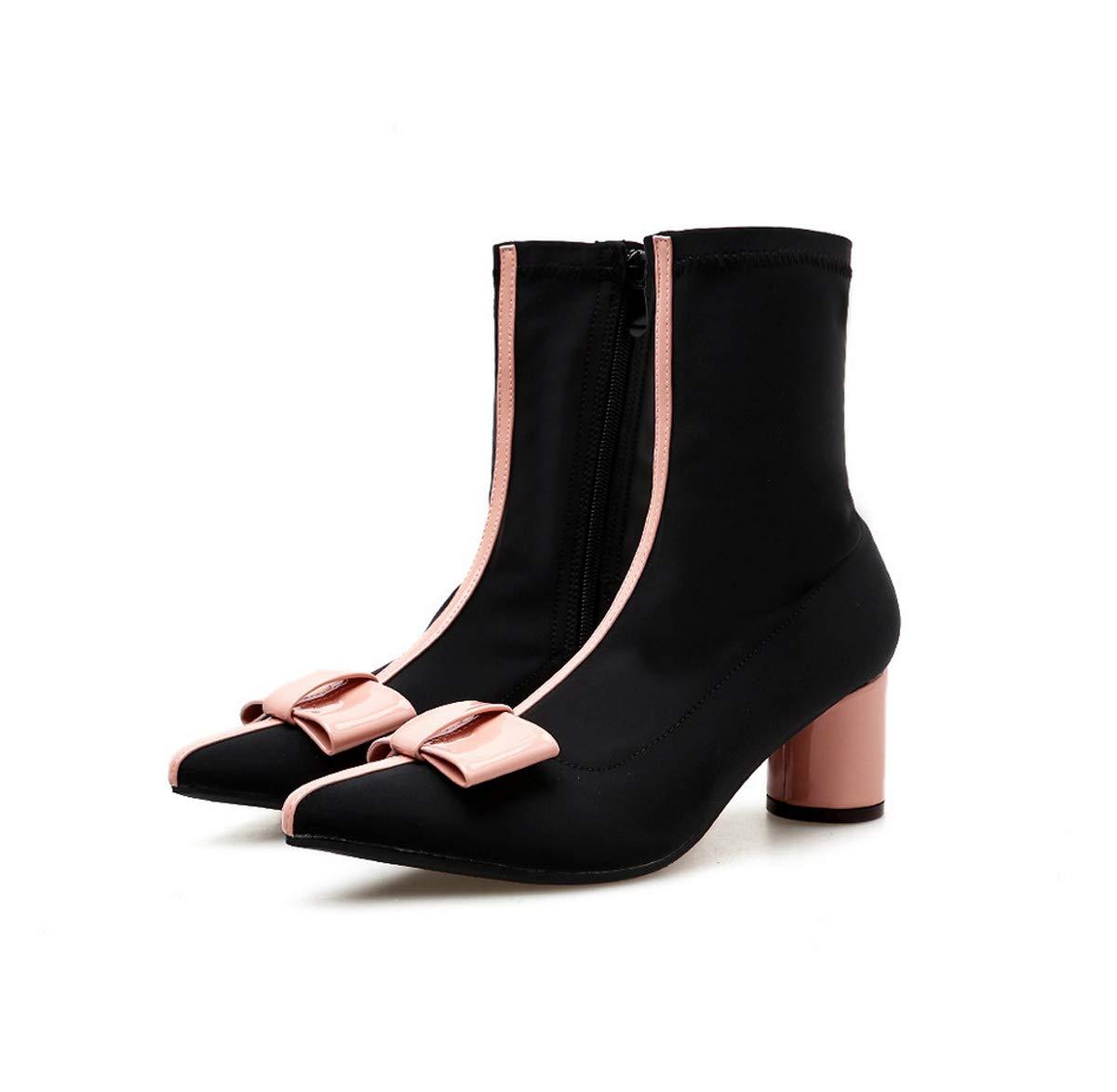 DANDANJIE Lässige Stiefelette für Damen Spitze Spitze seitlicher Reißverschluss-Bogen-Knot-Block-Fersen-Stiefelies früher Frühling Schuhe