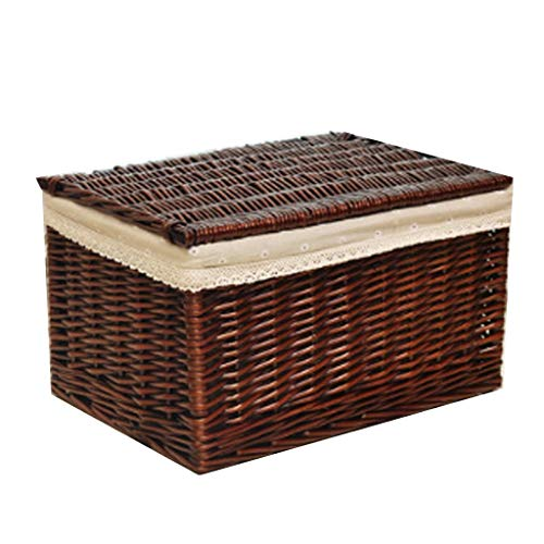 (BJLWTQ Wicker Storage Basket Storage Box with Lid, Rattan Storage Box Drawer Clothes Toy Storage Box Shelf Baskets (Color : Brown A, Size : 50x36x30cm))