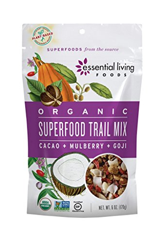 Essential Living Foods Organic Superfood Trail Mix, Figs, Mulberries, Goji Berries, Coconut, Cashews, Brazil Nuts, Cacao Nibs, Vegan, Superfood, Non-GMO, Gluten Free, 6 Ounce Resealable Bag