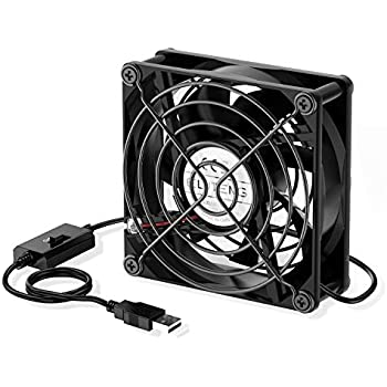 ELUTENG USB Fan 80mm, USB Computer Fan 5V Quite USB Ventilation Fan Compatible with 3 Speed Control for Receiver DVR Playstation Xbox Computer Cabinet Cooling 80 x 80 x 25mm