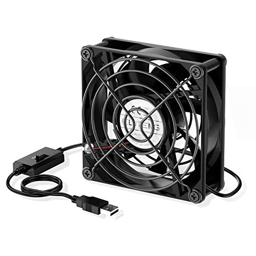 ELUTENG 80mm USB Fan with 3-Speed Control 5V Fan Quite Mini USB Ventilation Fan Compatible for Receiver DVR Playstation Xbox Computer Cabinet Cooling 80 x 80 x 25mm