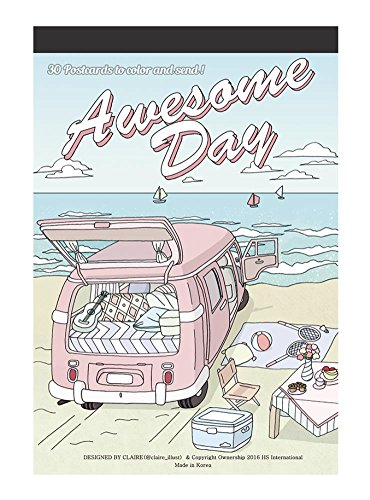 (Awesome day : Coloring Greeting Cards Book, 30 beautifully illustrated Color Therapy Coloring Postcards book Set)